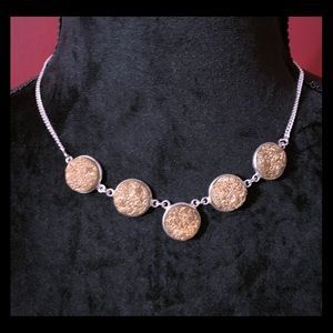 Jewelry - Silver Druzy Stone Statement Necklace